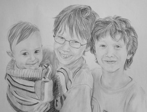 charcoal portrait of 3 kids