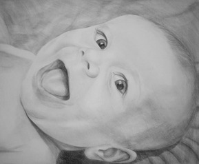 happy baby in a charcoal portrait