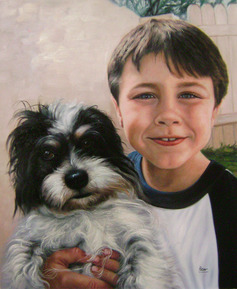 oil portrait of a boy with a dog
