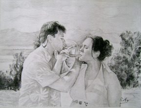 charcoal painting of a couple drinking wine