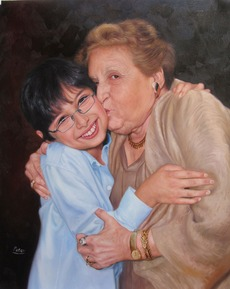 Oil portrait of grandmother and grandson