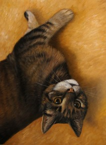 oil portrait of a cat over beige background