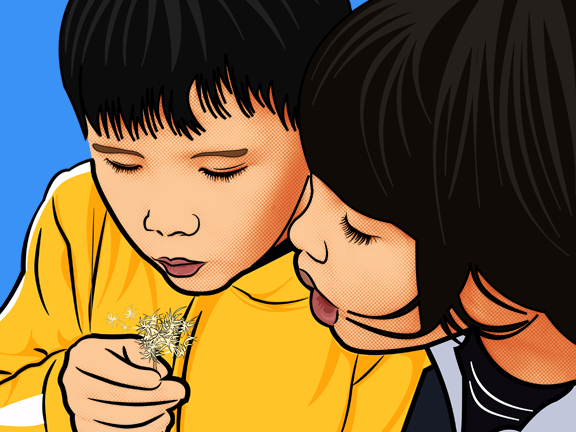 Pop Art of Kids Blowing Flowers