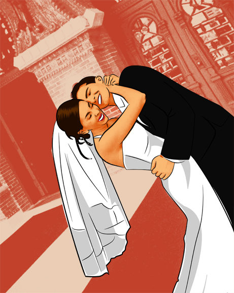 Asymmetrical Wedding Photo to Pop Art