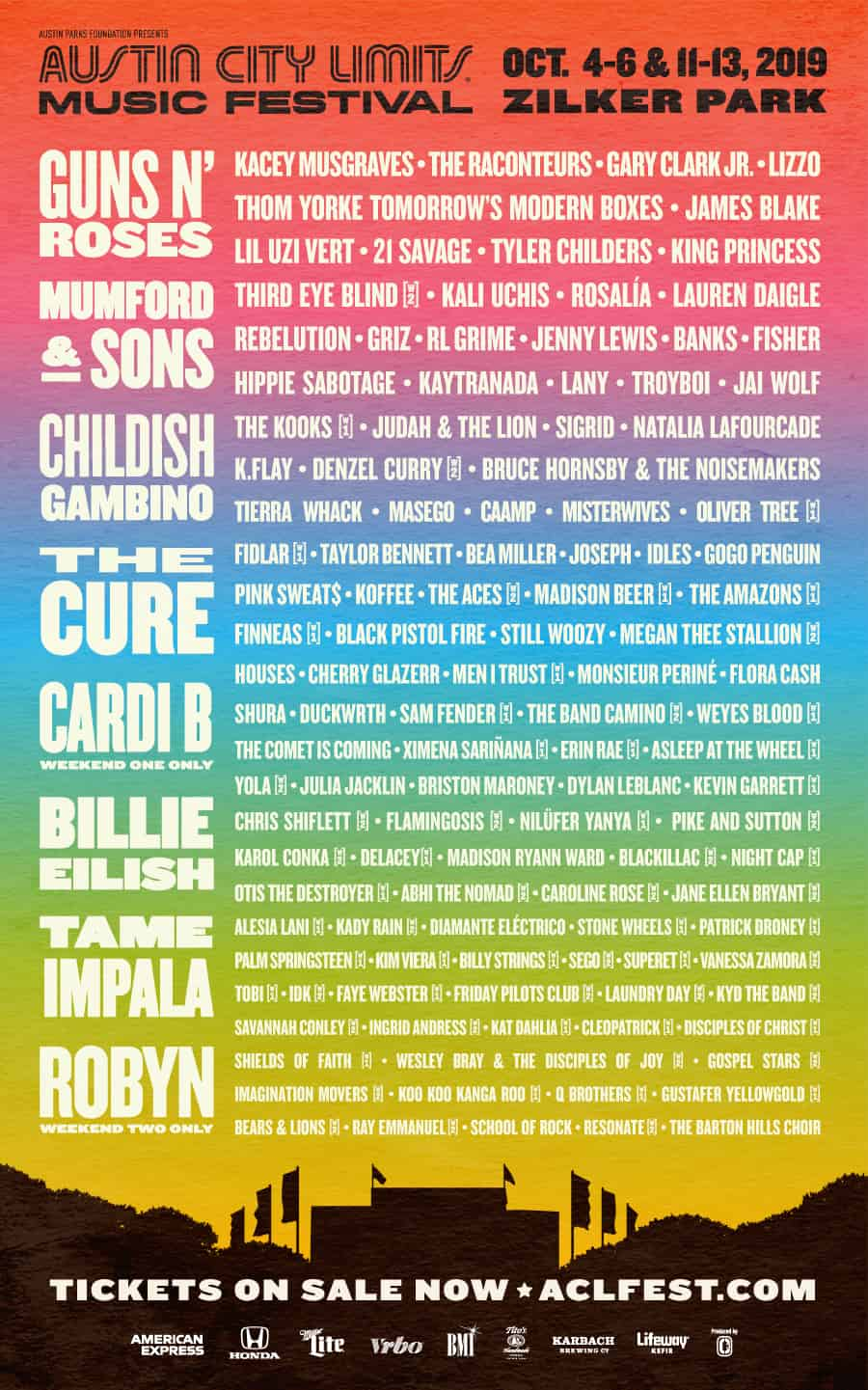 Acl Schedule 2019 Guns N' Roses Lead (ACL) Austin City Limits Fest Lineup