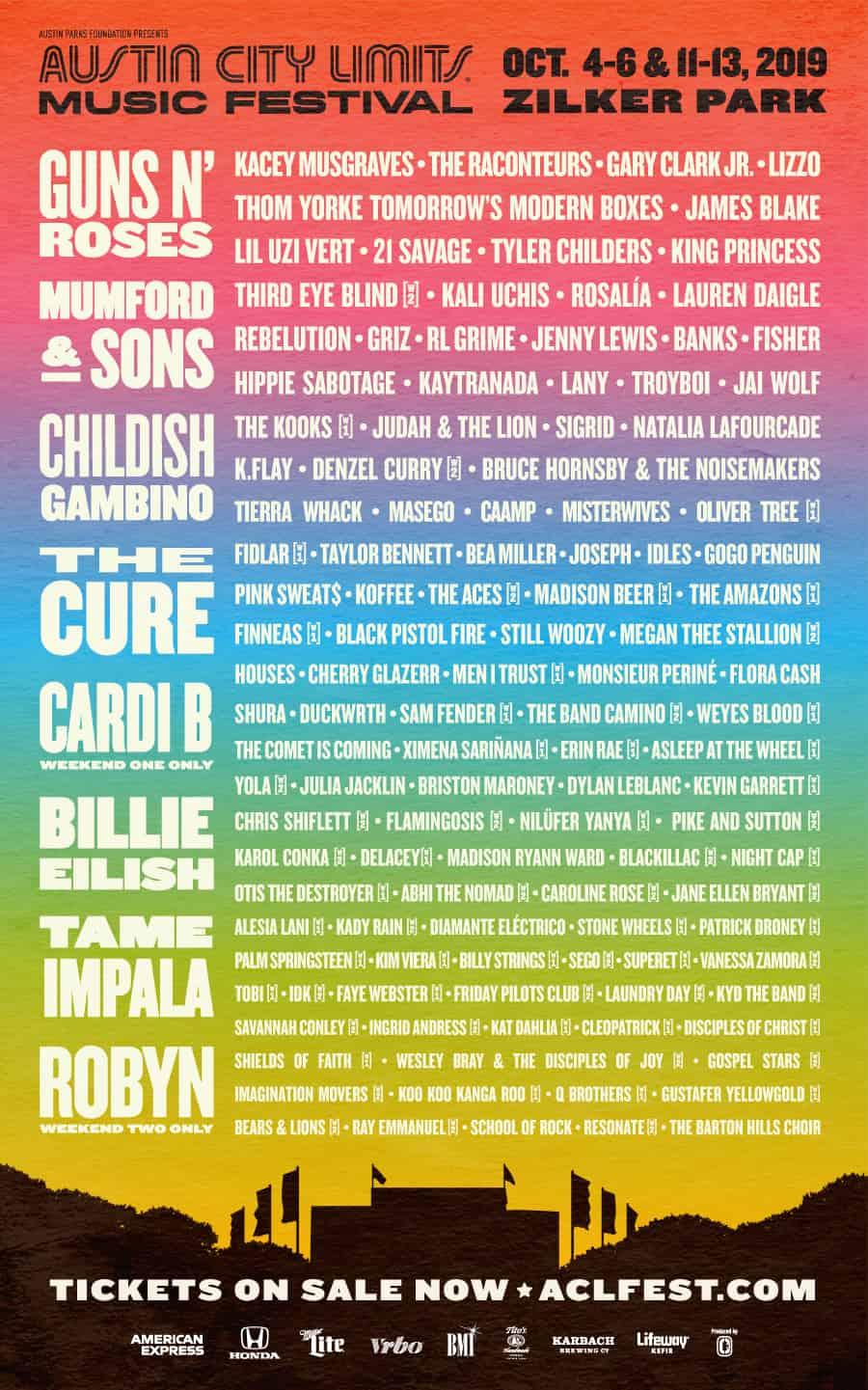Guns N' Roses Lead (ACL) Austin City Limits Fest Lineup