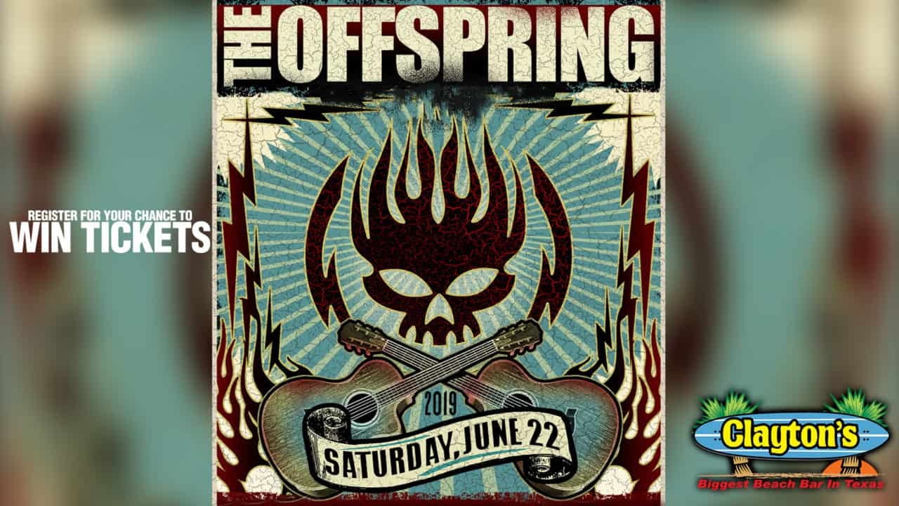 Register for your chance to win tickets to see The Offspring Live on Saturday, June 22nd at Claytons Beach Bar on South Padre Island!