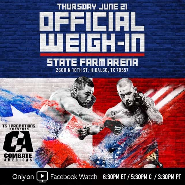 Combate Americas MMA Fighters to weigh-in in Hidalgo Tomorrow