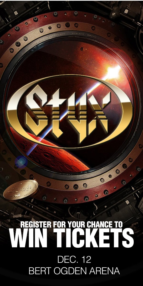Register for your chance to win tickets to see Styx Live on December 12th at the Bert Ogden Arena!