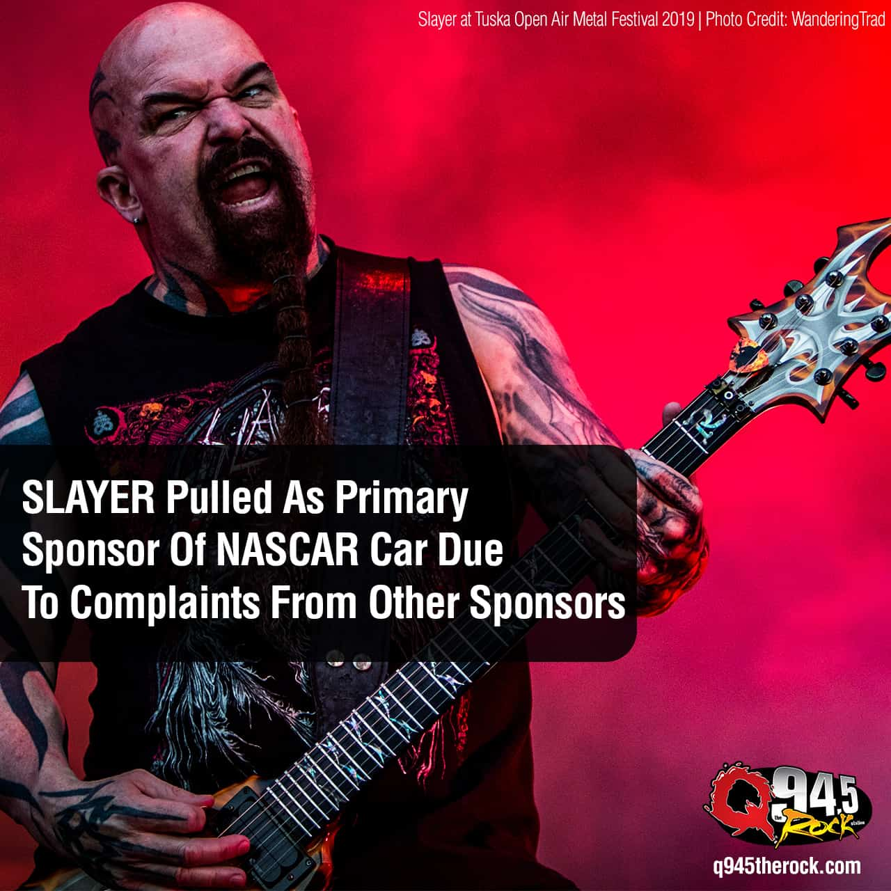 SLAYER Pulled As Primary Sponsor Of NASCAR Car Due To Complaints From Other Sponsors