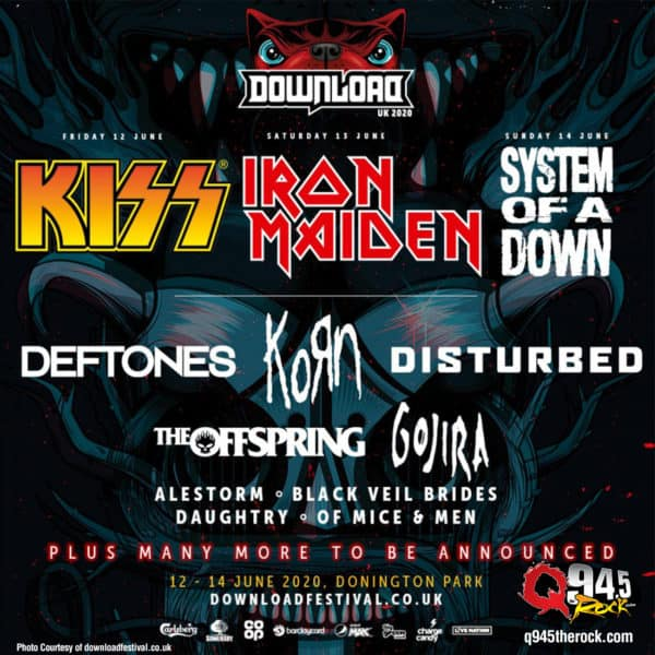 Iron Maiden, KISS and System Of A Down Headlining Download 2020
