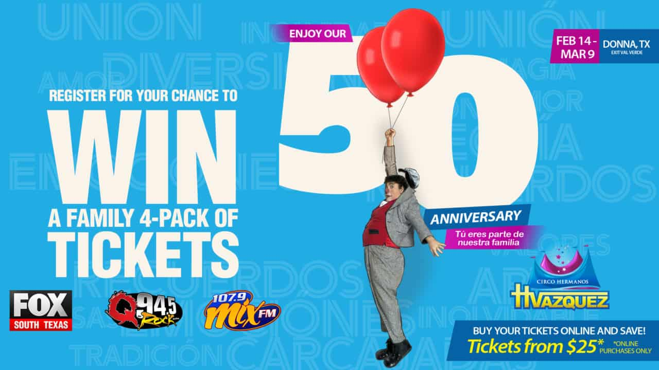 Register for your chance to win a Family 4-Pack of Tickets to Circo Hermanos Vazquez! 1