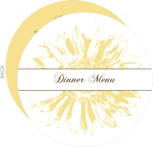 Simple Sunflower Brown and Yellow Menu Card