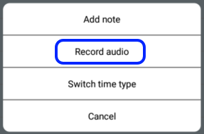 Select Record audio item