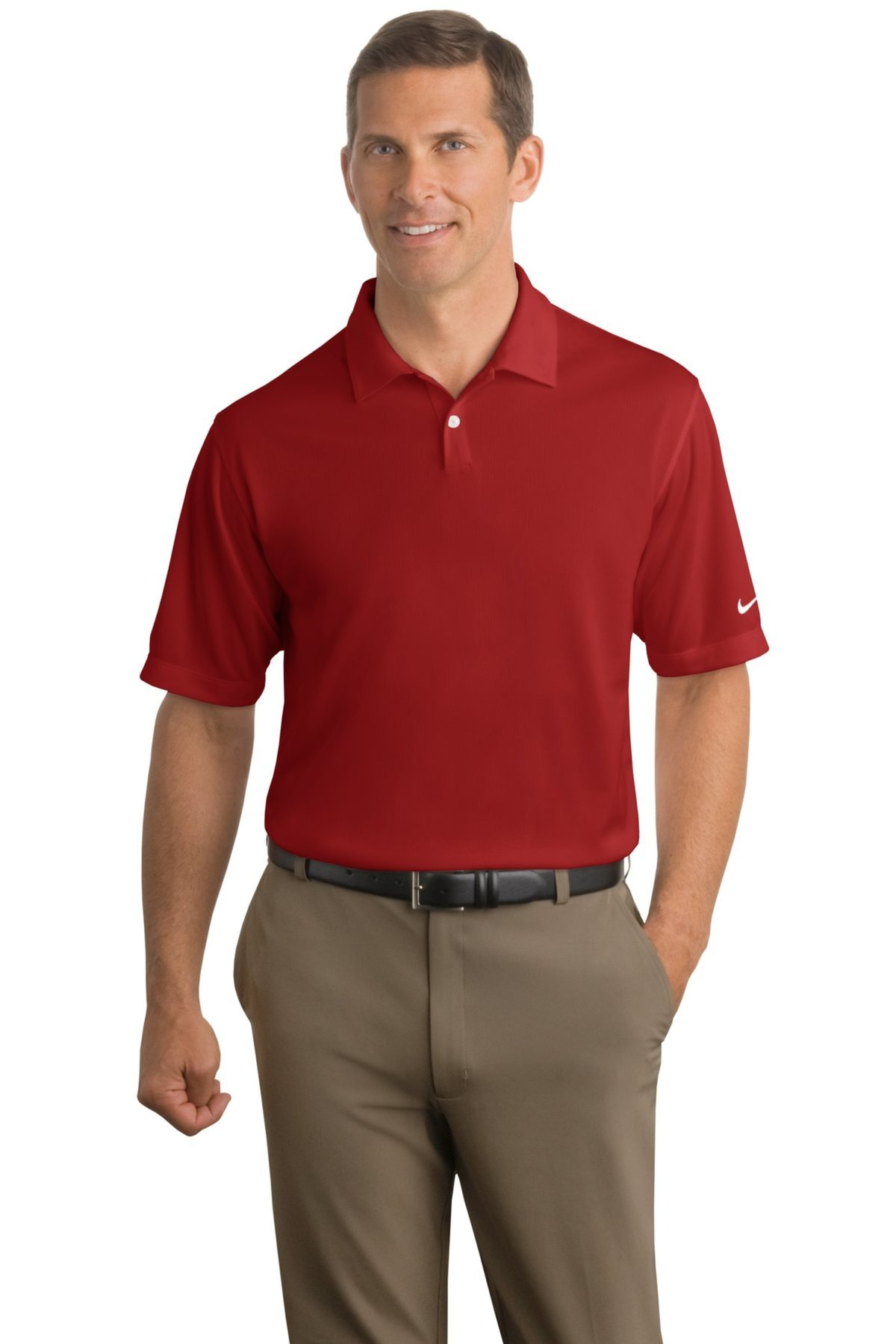 Nike Golf Embroidered Mens Dri Fit Pebble Texture Polo Queensboro