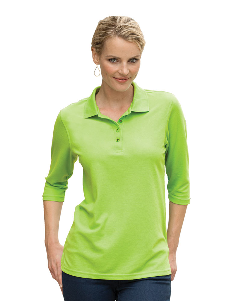 Women's Port Authority Silk Touch 3/4 Sleeve Pique Polo