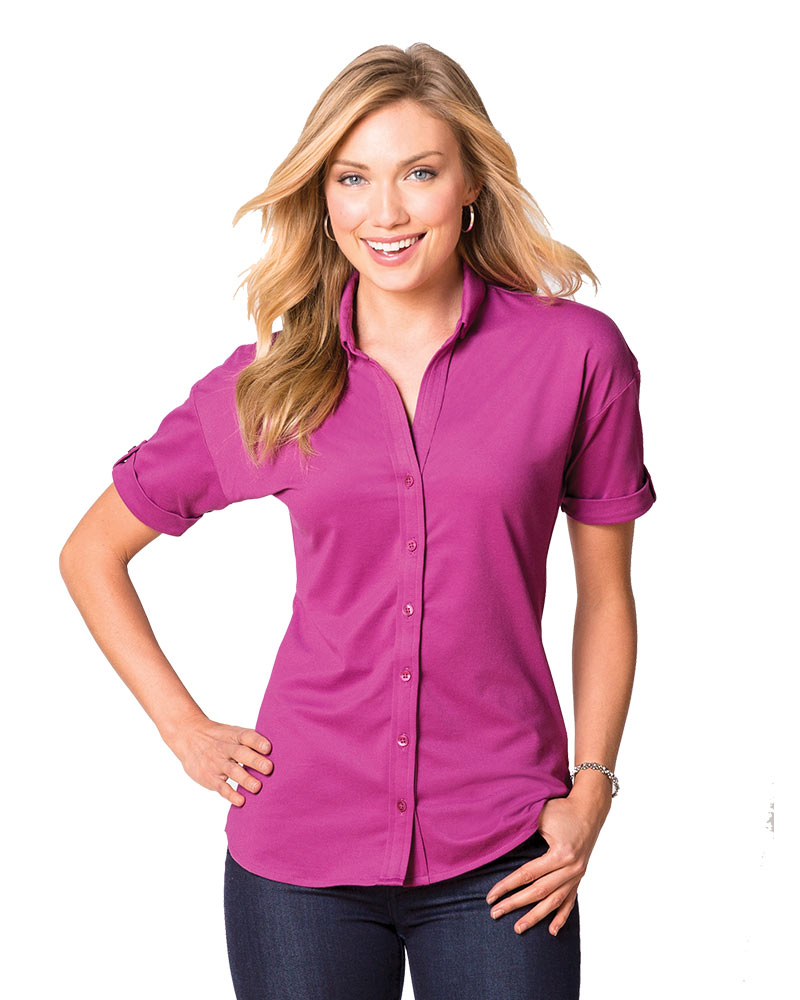 Port Authority Embroidered Women's Stretch Pique Button-Front Shirt