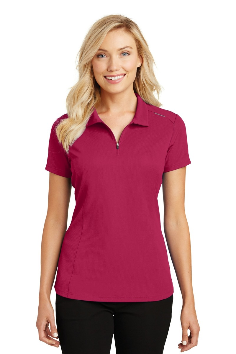 Port Authority Embroidered Women's Pinpoint Mesh Zip Polo