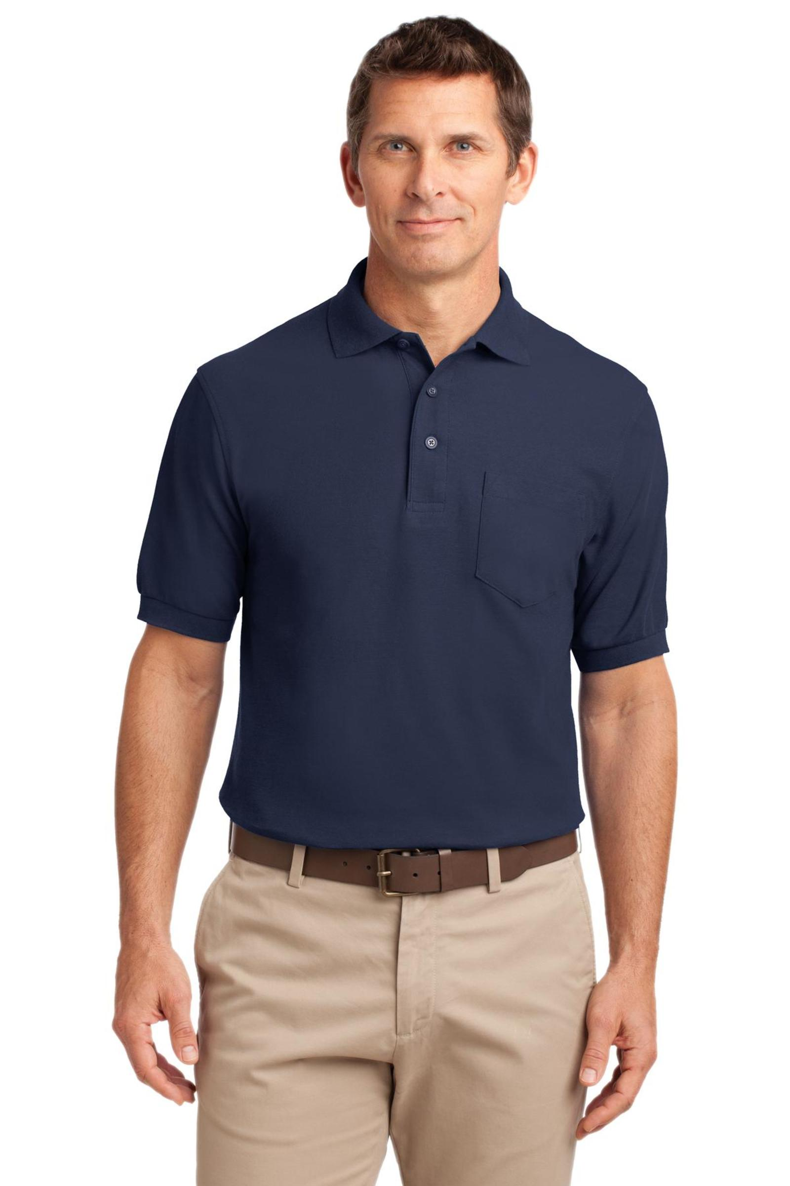 Port Authority Embroidered Men's Tall Silk Touch Pique Pocket Polo