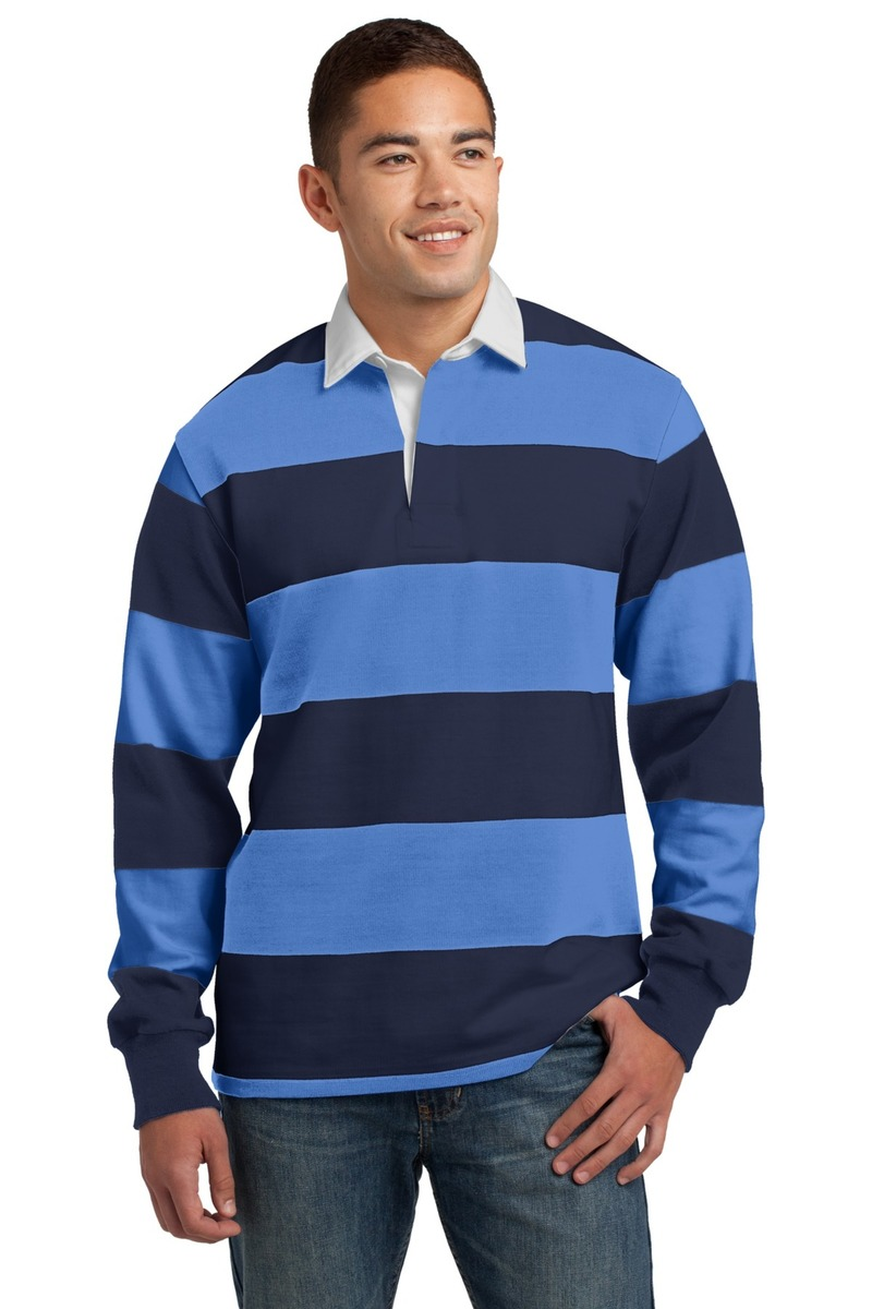 Sport-Tek Embroidered Men's Classic Long Sleeve Rugby Polo
