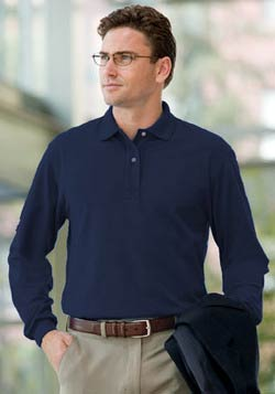 Queensboro Long Sleeve Two-Ply Pima Jersey Polo