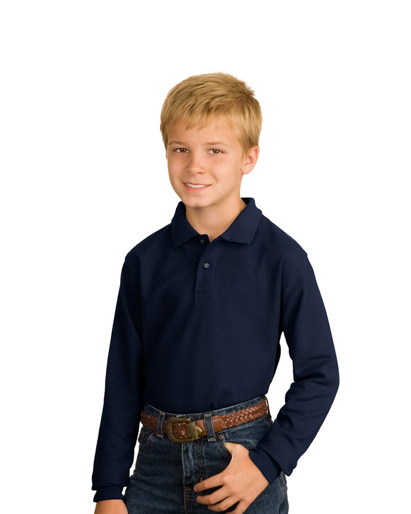 Port Authority Youth Long Sleeve Silk Touch  Pique Polo