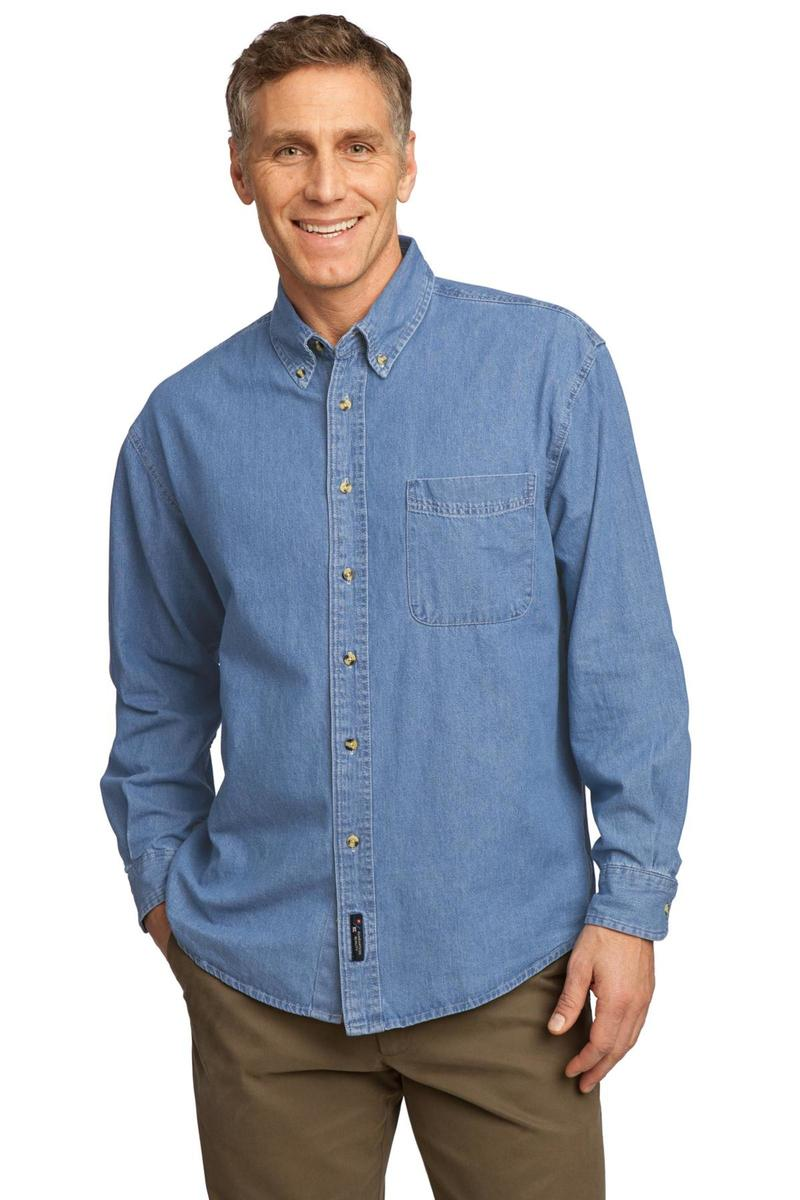 Port & Company Embroidered Men's Long Sleeve Denim Shirt