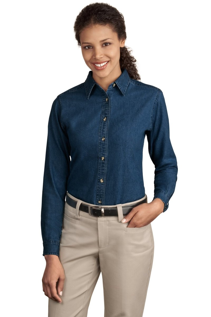 Port & Company Ladies Long Sleeve Denim Shirt