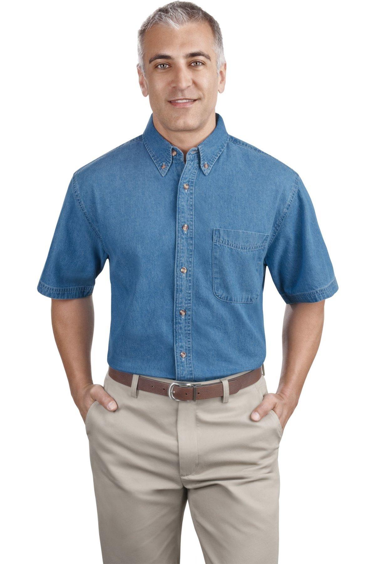 Port Company Short Sleeve Denim Shirt Queensboro