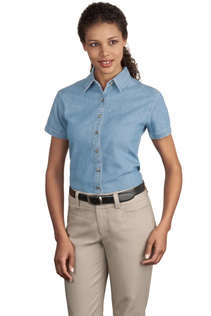 Port & Company Women's Short Sleeve Denim Shirt