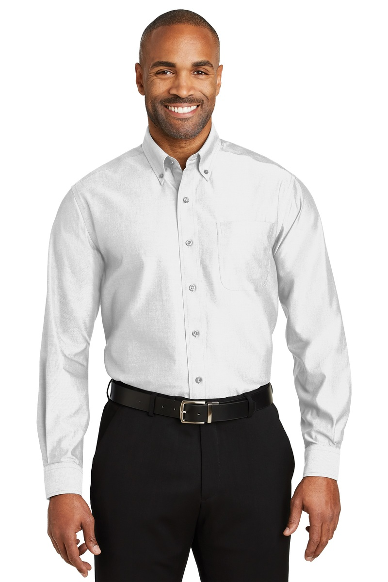 Red House Embroidered Men's Non-Iron Pinpoint Oxford Shirt