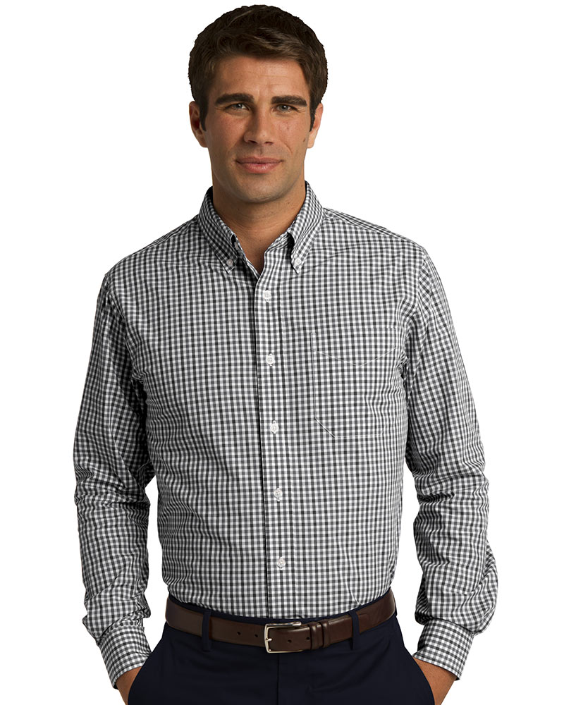 Port Authority Embroidered Men's Long Sleeve Gingham Easy Care Shirt