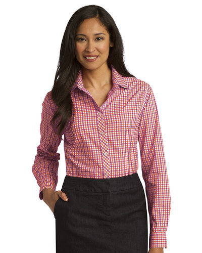 2c823b19 Port Authority Embroidered Women's Long Sleeve Gingham Easy Care Shirt