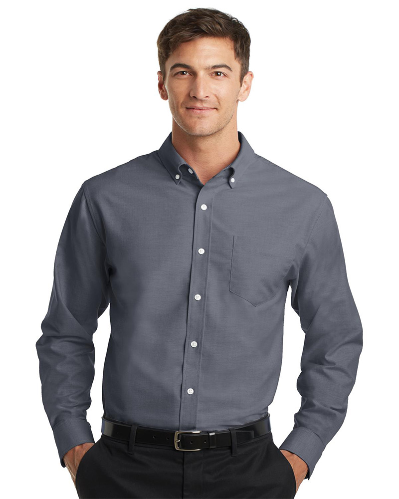 1c3ce4a7b43 Port Authority Embroidered Men s SuperPro Oxford Shirt - Queensboro