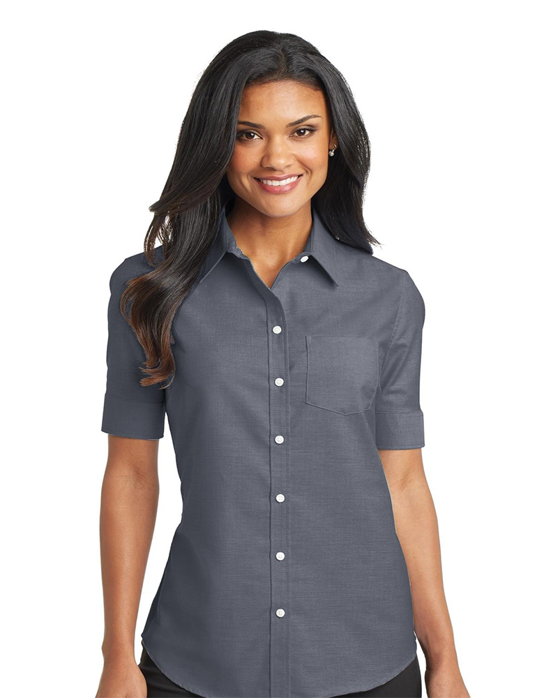 Port Authority Ladies Short Sleeve SuperPro Oxford Shirt