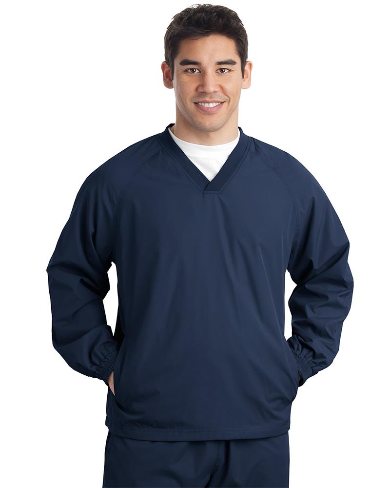 Sport-Tek  Embroidered Men's V-Neck Raglan Wind Shirt