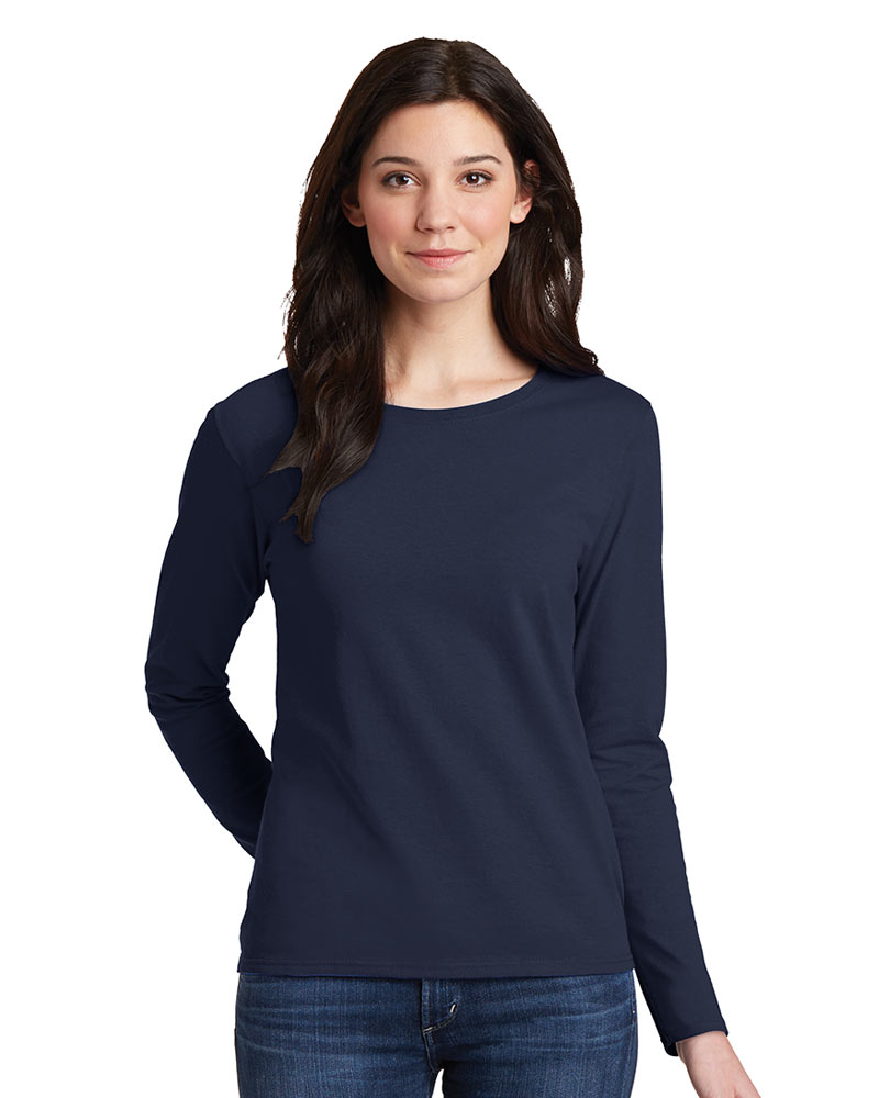 Printed Gildan Ladies Heavy Cotton Long Sleeve Tee