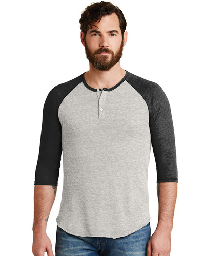 Alternative Embroidered Men's Eco-Jersey 3/4-Sleeve Raglan Henley