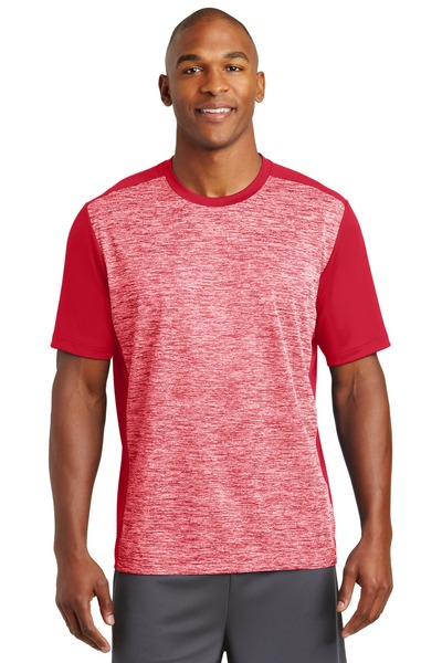 Sport-Tek Embroidered Men's PosiCharge Electric Heather Colorblock Tee