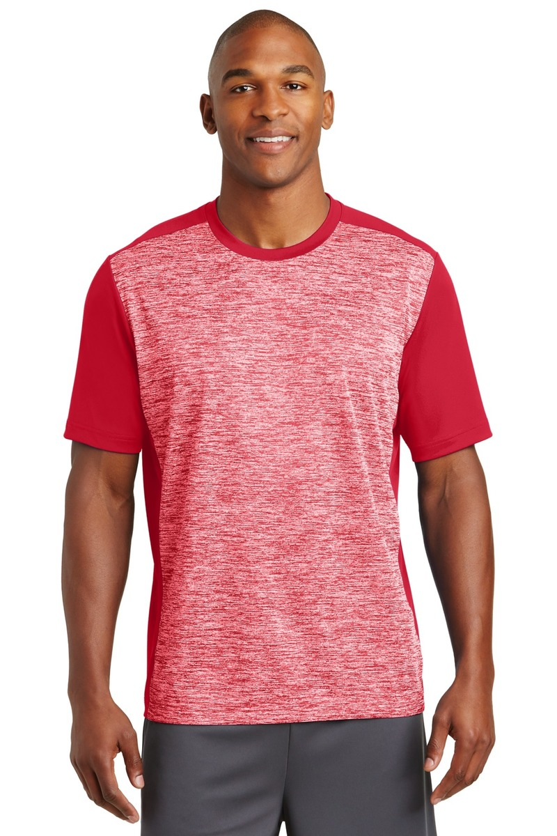Printed Sport-Tek PosiCharge Electric Heather Colorblock Tee