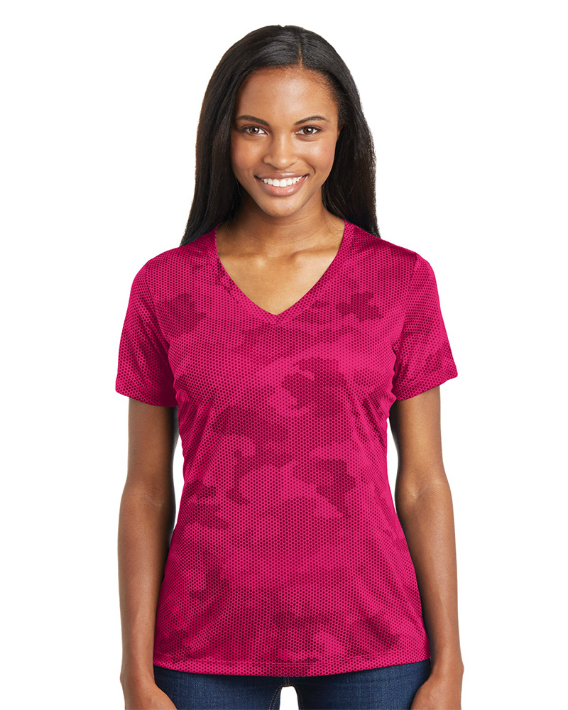 Sport-Tek Embroidered Women's CamoHex V-Neck Tee