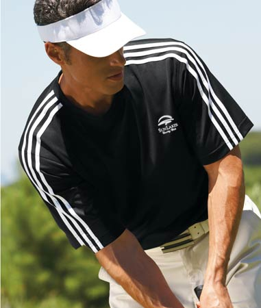 Embroidered Adidas ClimaLite 3 Stripe Golf Tee