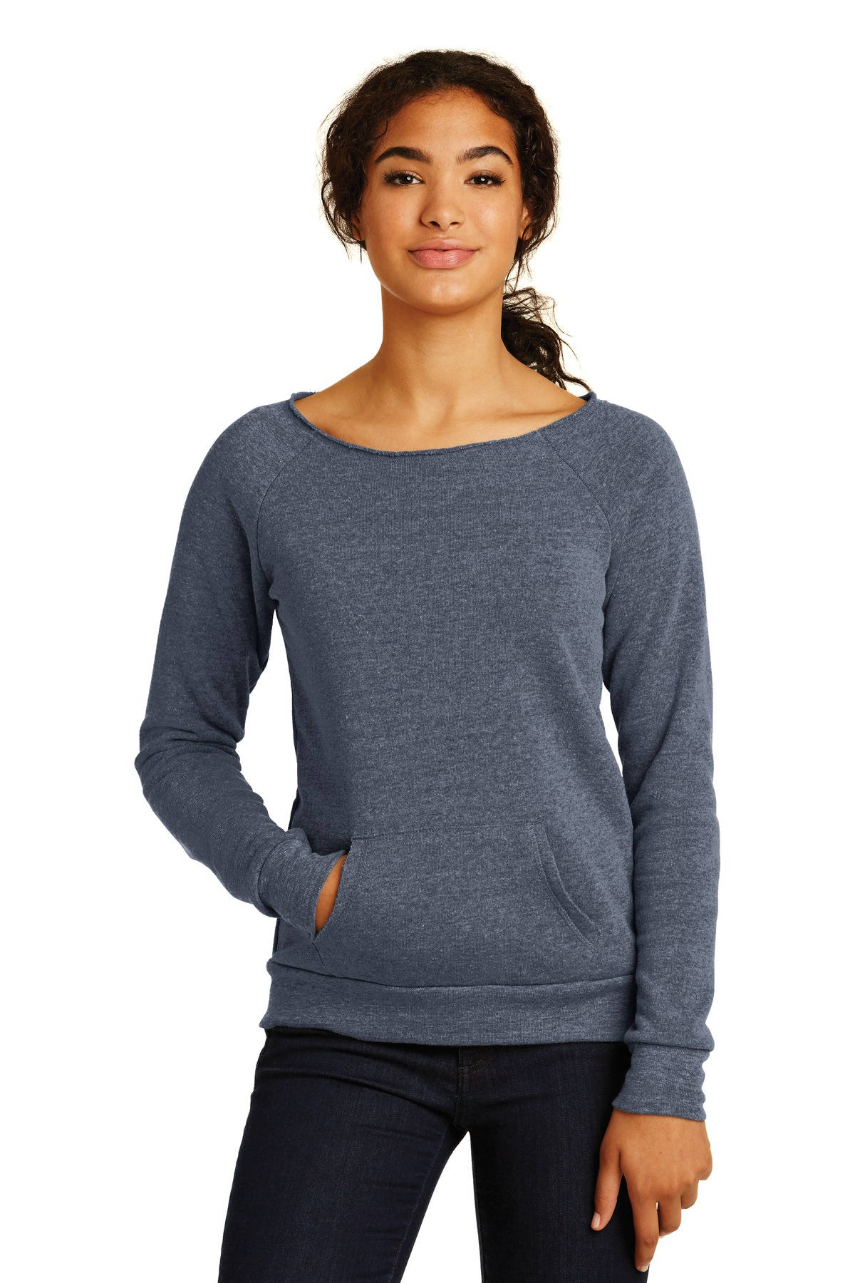 Alternative Embroidered Women's Off the Shoulder Eco-Fleece Sweatshirt