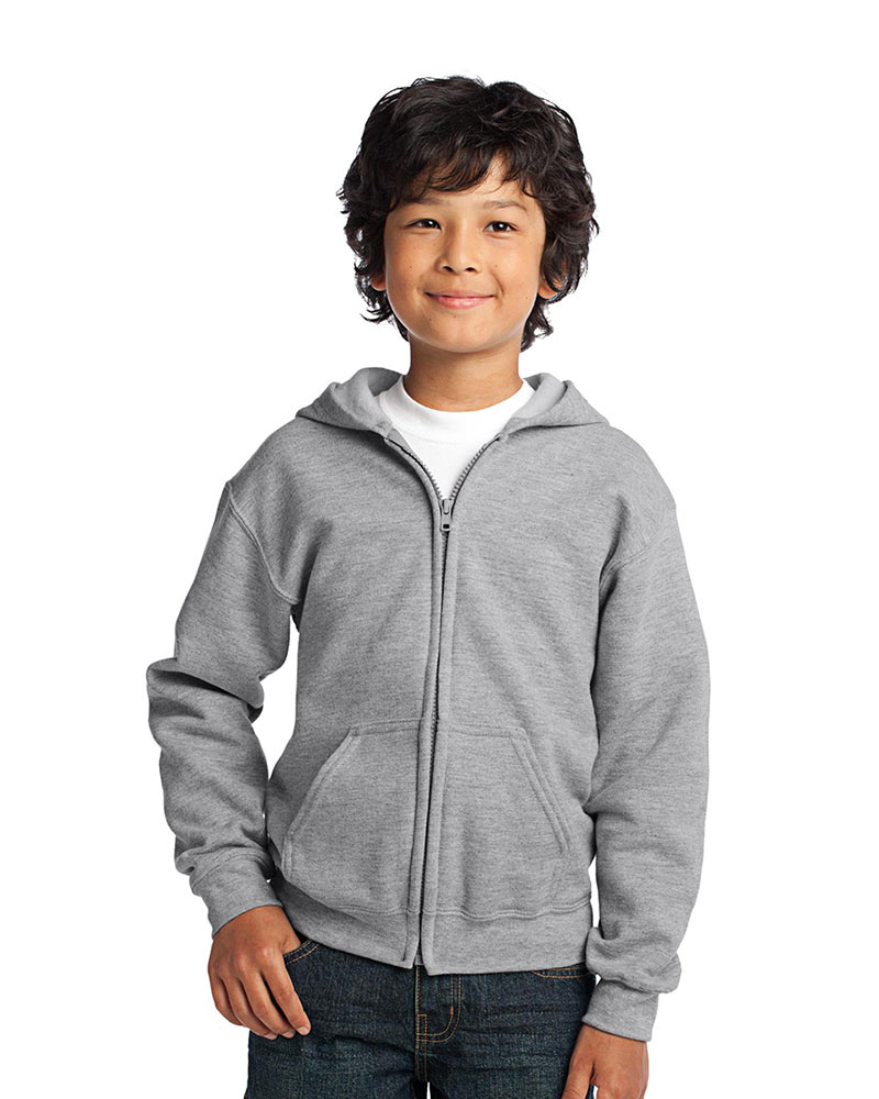 Printed Gildan Youth Full Zip Hooded Sweatshirt