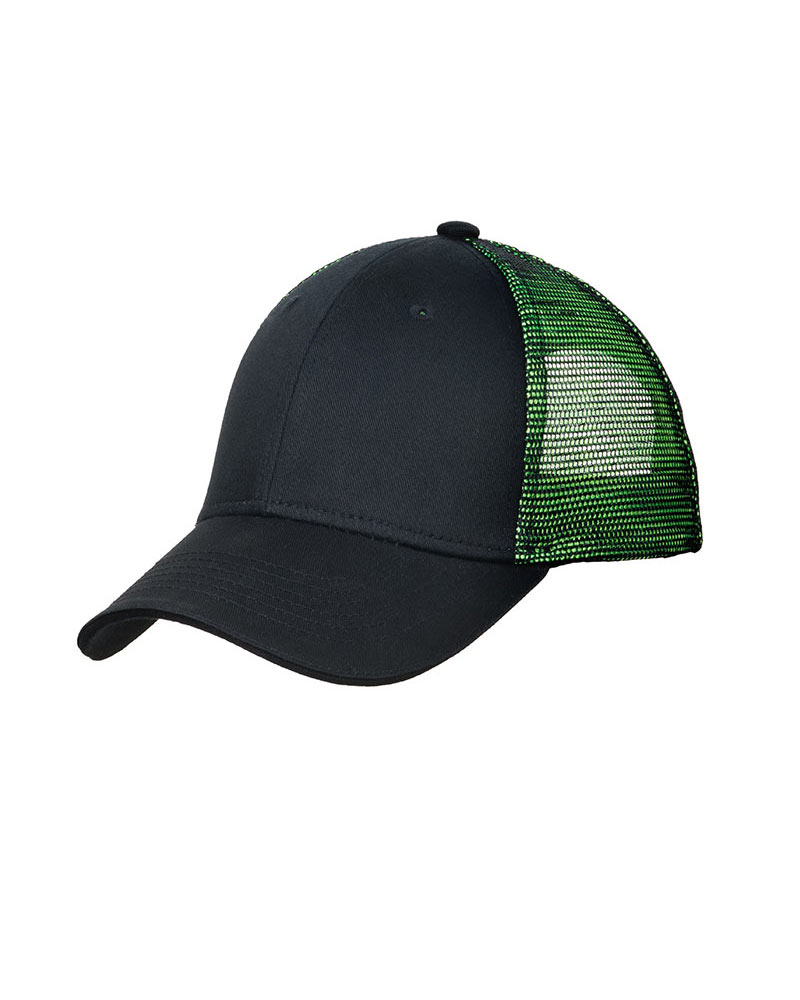 Port Authority  Embroidered Double Mesh Snapback Sandwich Bill Cap