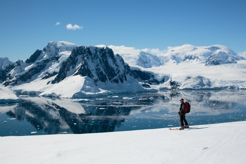 A cross country skier takes in the epic views on a Quark expedition to Antarctica.