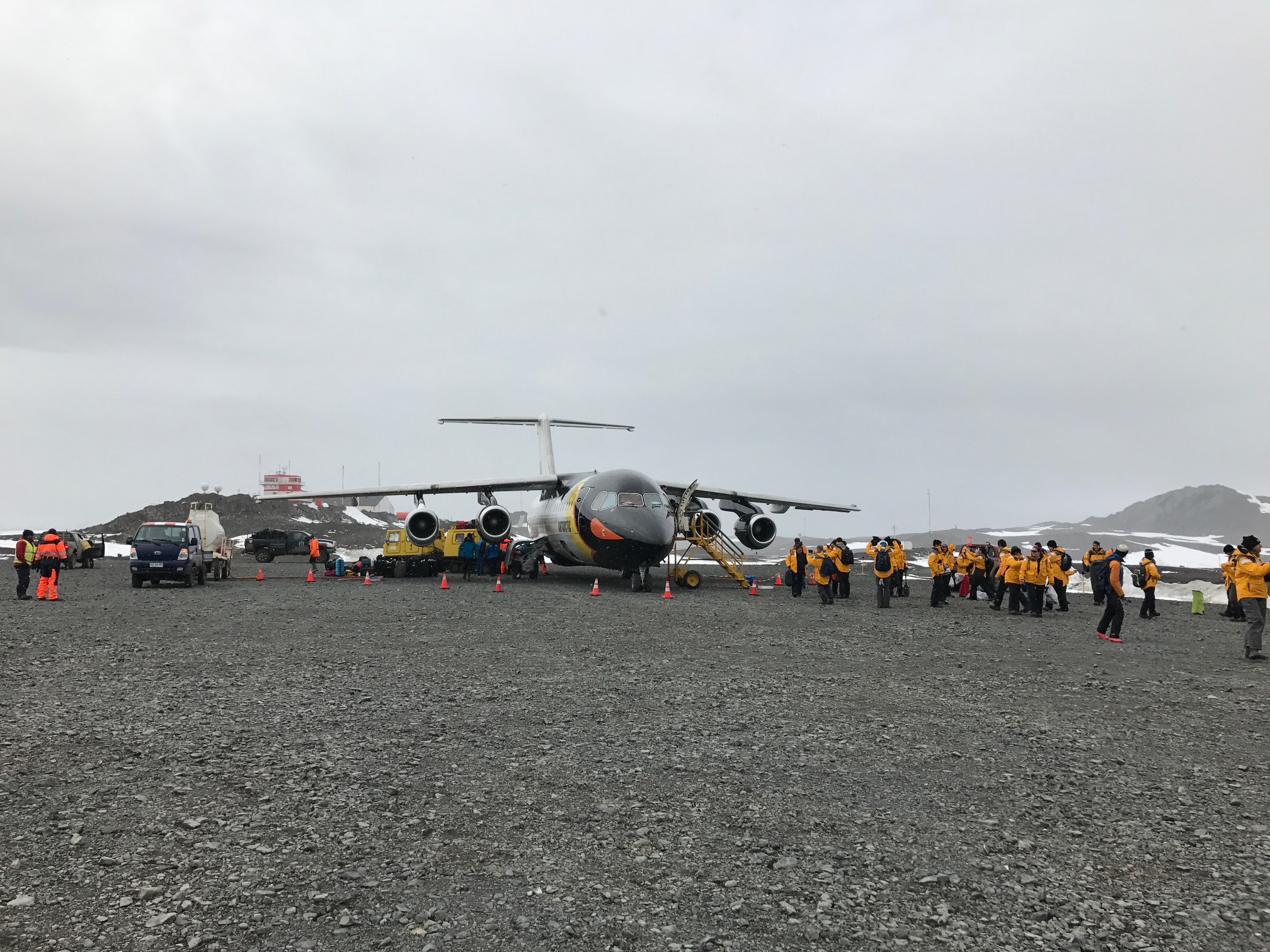 Passengers set foot on King George Island after a comfortable charter flight over the Drake Passage on a Fly-Cruise expedition to Antarctica.