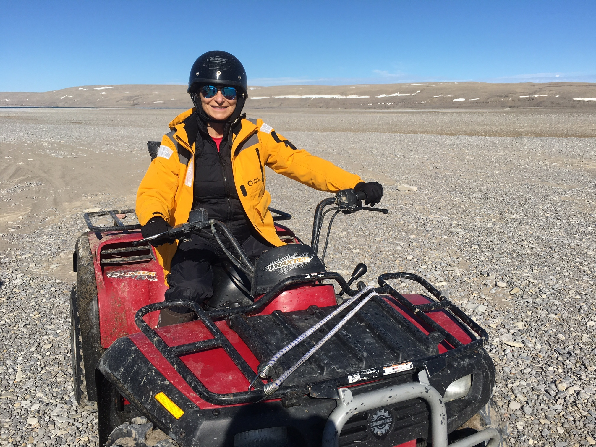 Jeanne Beker gets geared up for an ATV adventure at Arctic Watch Wilderness Lodge