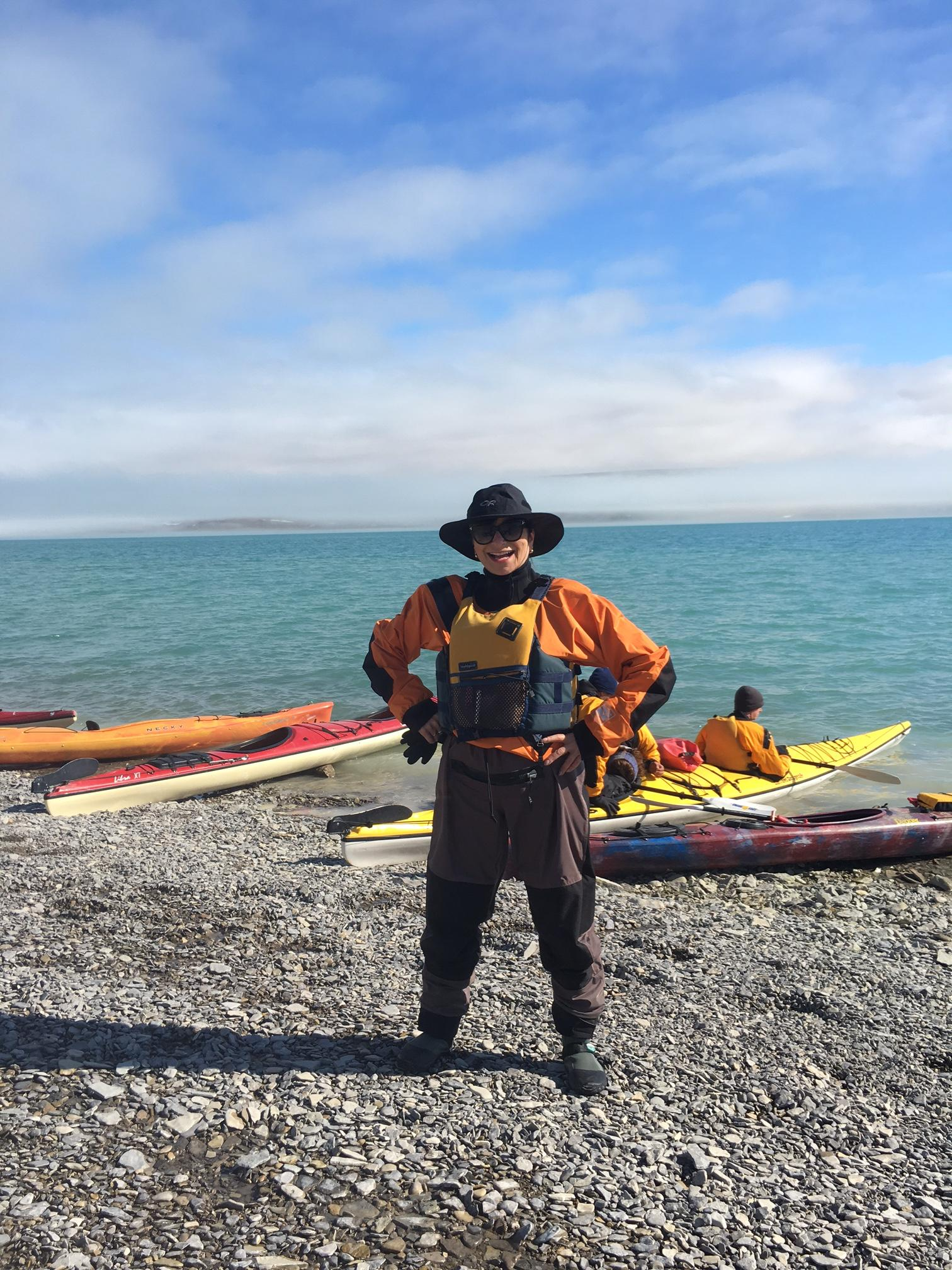 Jeanne Beker gears up to go sea kayaking at Arctic Watch Wilderness Lodge
