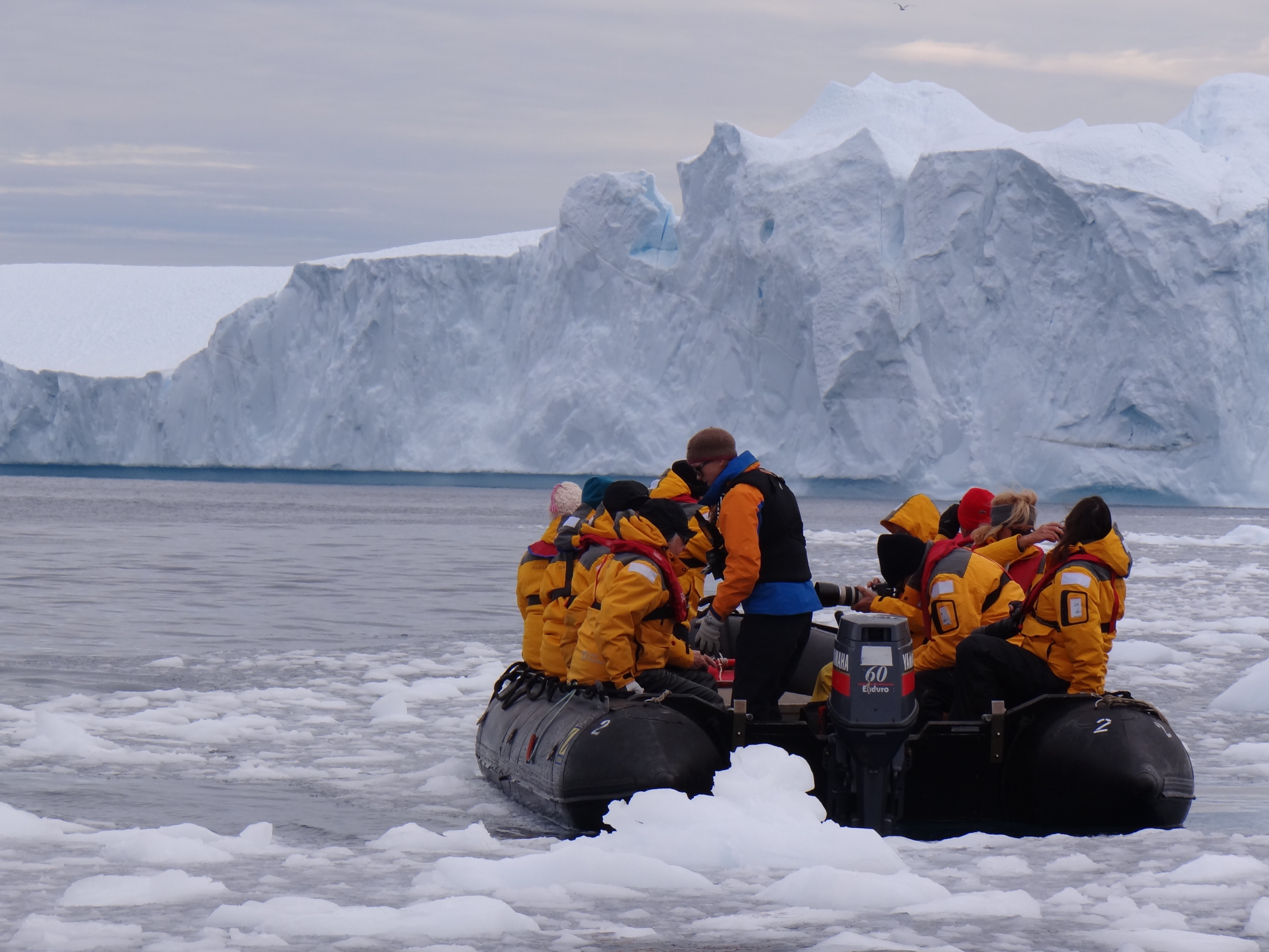 Riding zodiacs in the Arctic